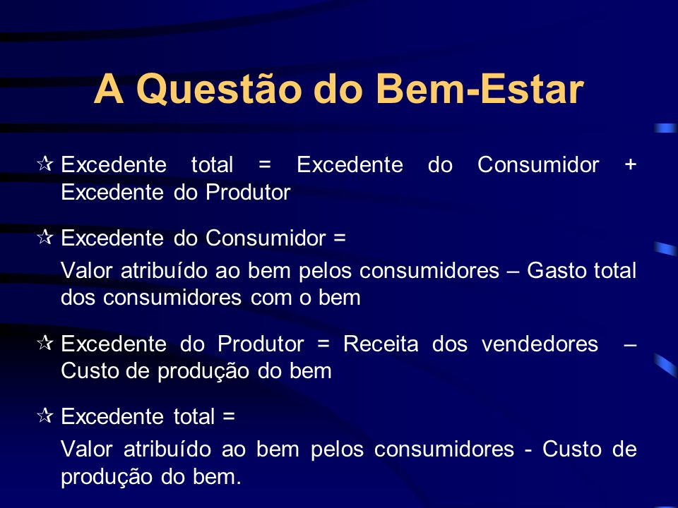 A Questão do Bem-Estar  Excedente total = Excedente do Consumidor + Excedente do Produtor.  Excedente do Consumidor =