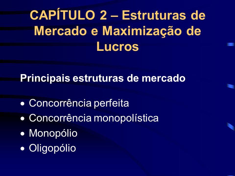 CAPÍTULO 2 – Estruturas de Mercado e Maximização de Lucros