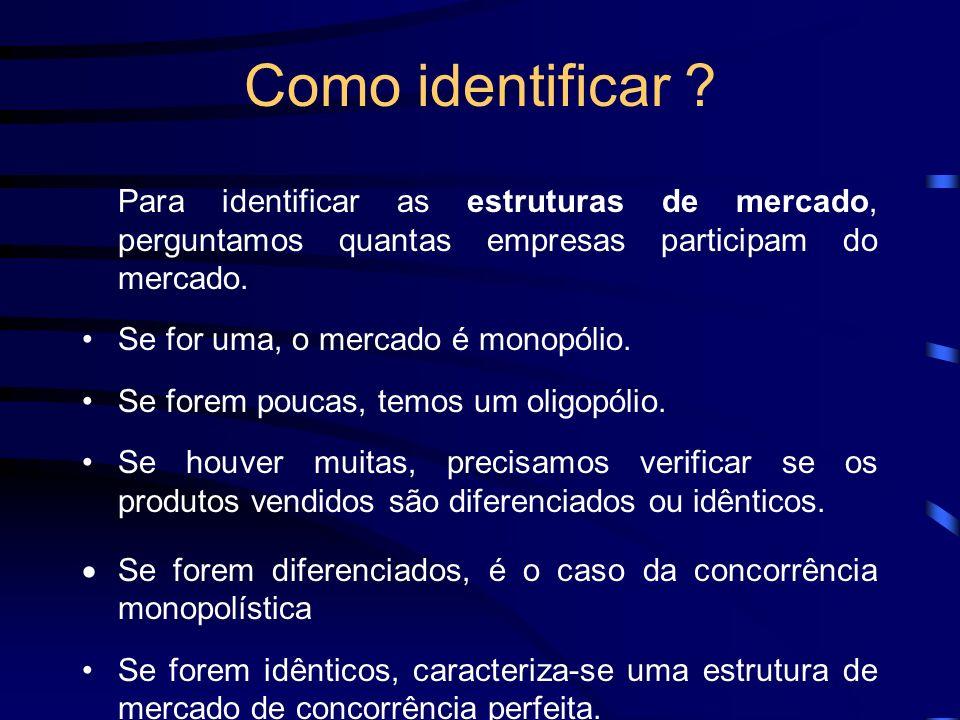 Como identificar Para identificar as estruturas de mercado, perguntamos quantas empresas participam do mercado.