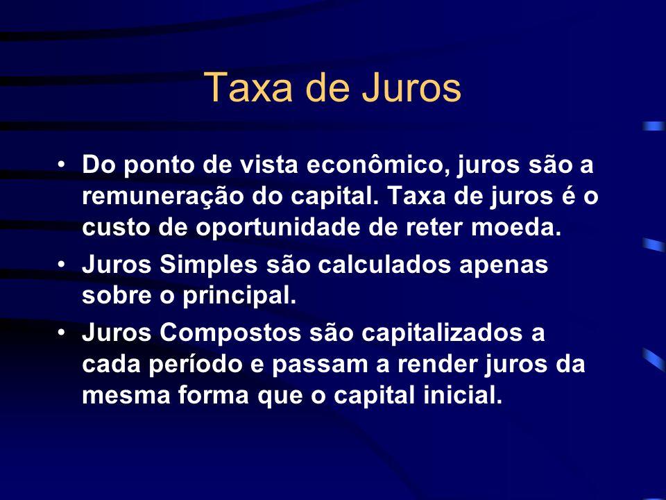 Taxa de Juros Do ponto de vista econômico, juros são a remuneração do capital. Taxa de juros é o custo de oportunidade de reter moeda.