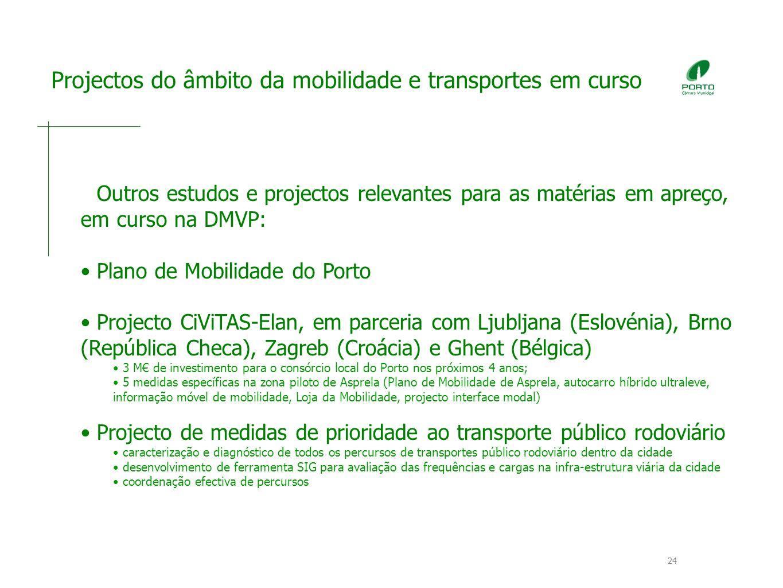 Projectos do âmbito da mobilidade e transportes em curso