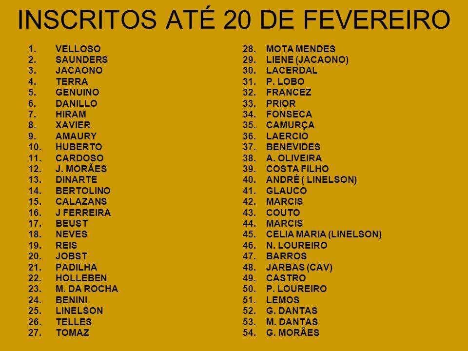 INSCRITOS ATÉ 20 DE FEVEREIRO