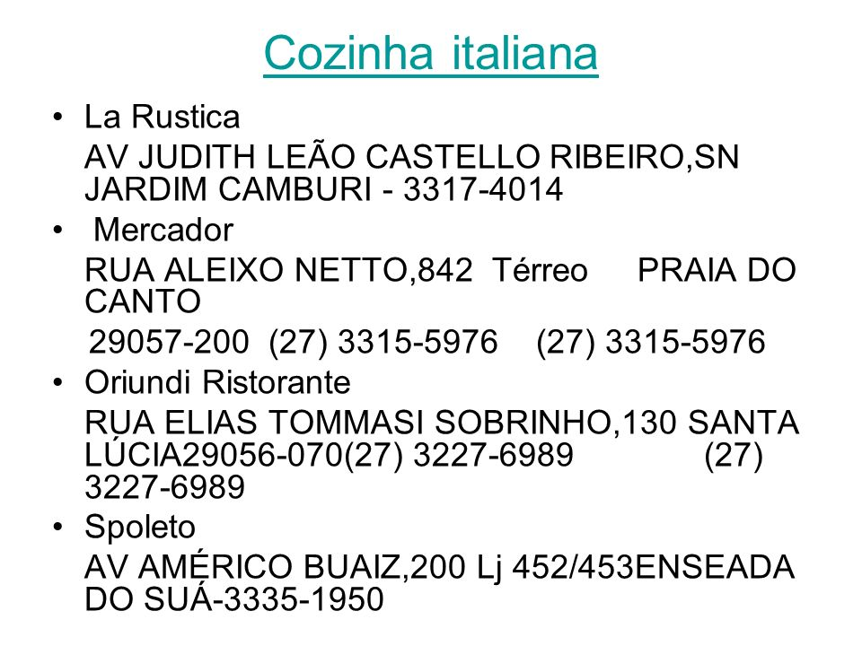 Cozinha italiana La Rustica