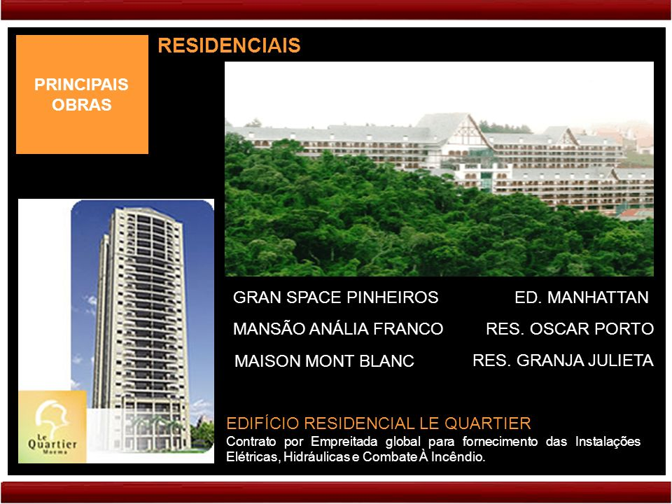 RESIDENCIAIS PRINCIPAIS OBRAS GRAN SPACE PINHEIROS ED. MANHATTAN