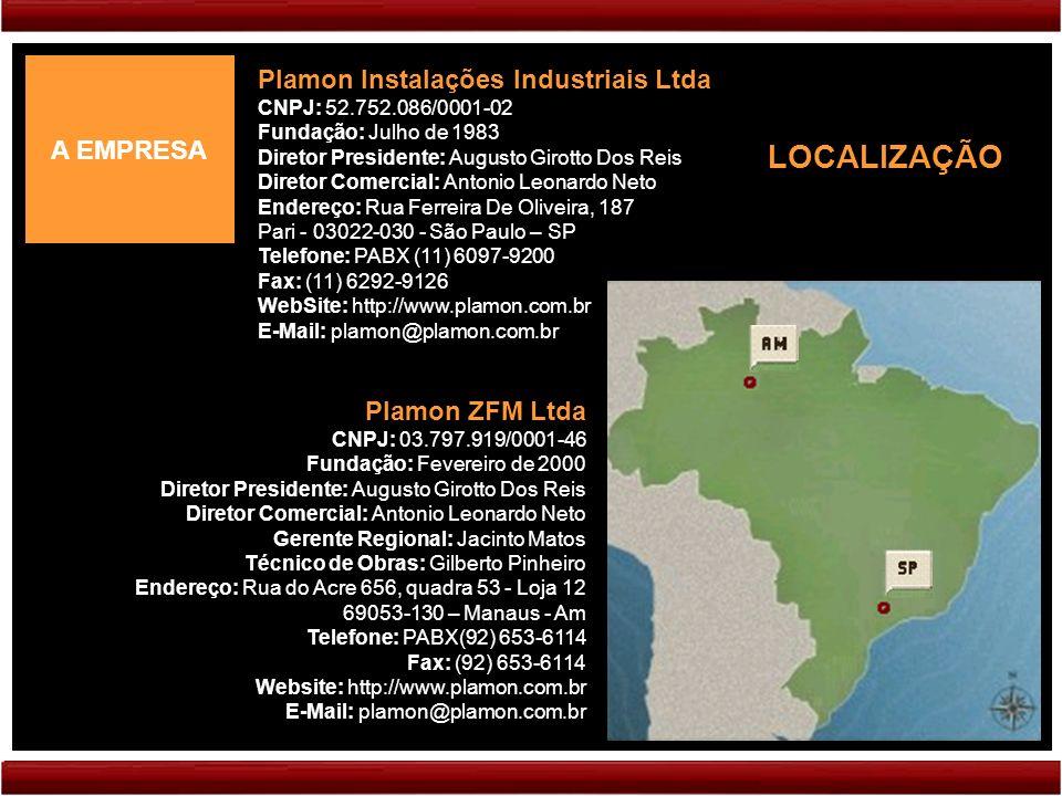 LOCALIZAÇÃO Plamon Instalações Industriais Ltda A EMPRESA