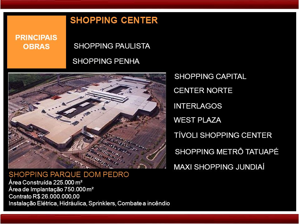 SHOPPING CENTER PRINCIPAIS OBRAS SHOPPING PAULISTA SHOPPING PENHA