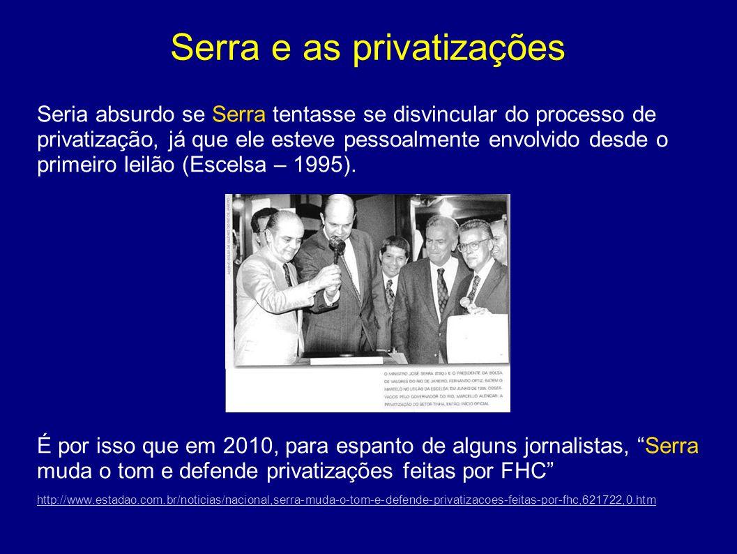 Serra e as privatizações