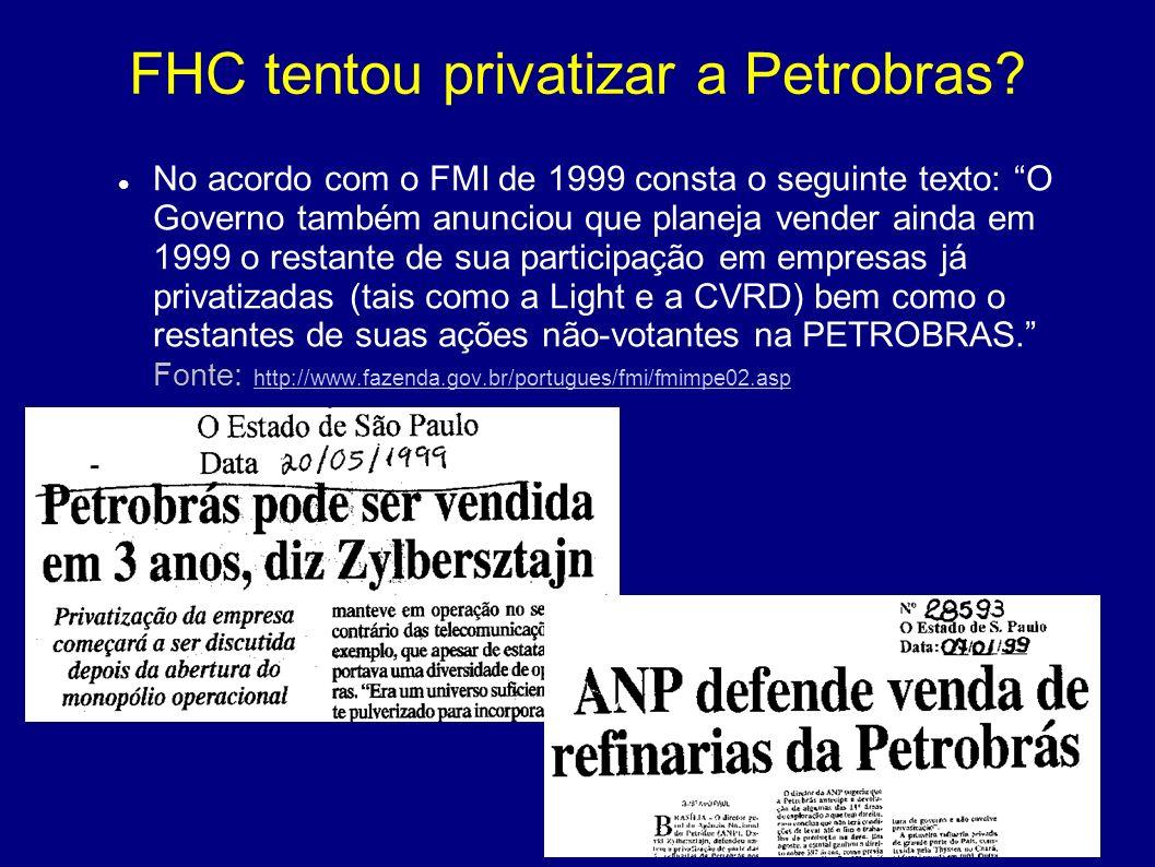 FHC tentou privatizar a Petrobras