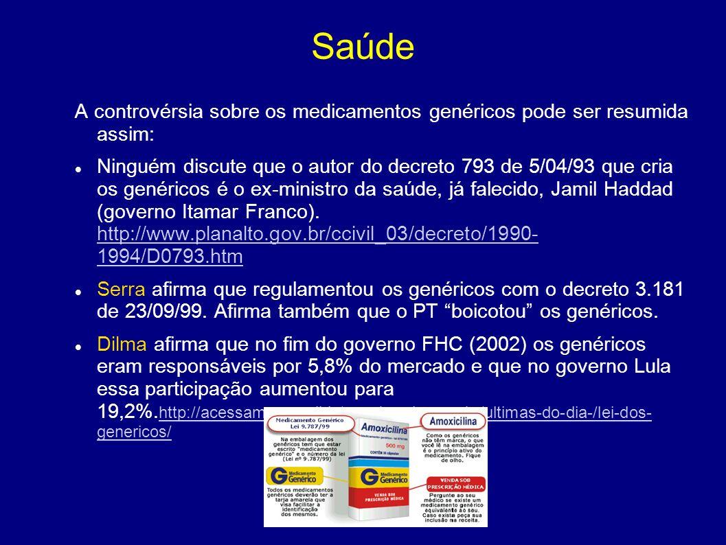 Saúde A controvérsia sobre os medicamentos genéricos pode ser resumida assim: