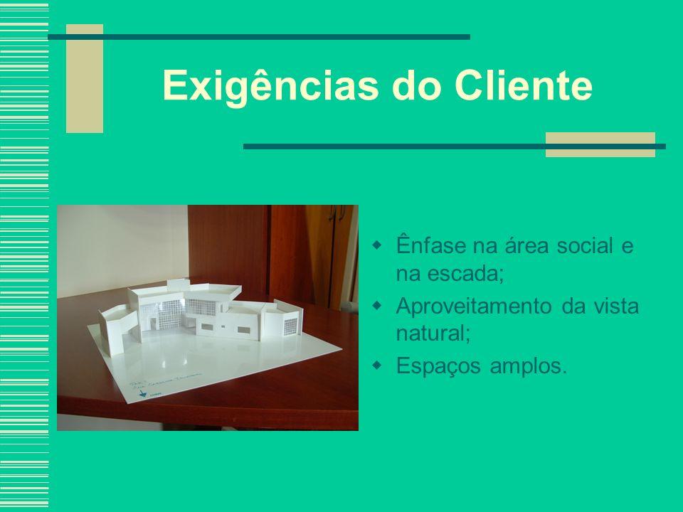 Exigências do Cliente Ênfase na área social e na escada;