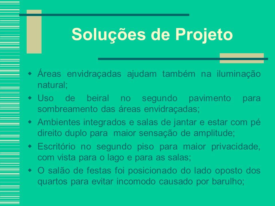 Soluções de Projeto Áreas envidraçadas ajudam também na iluminação natural;