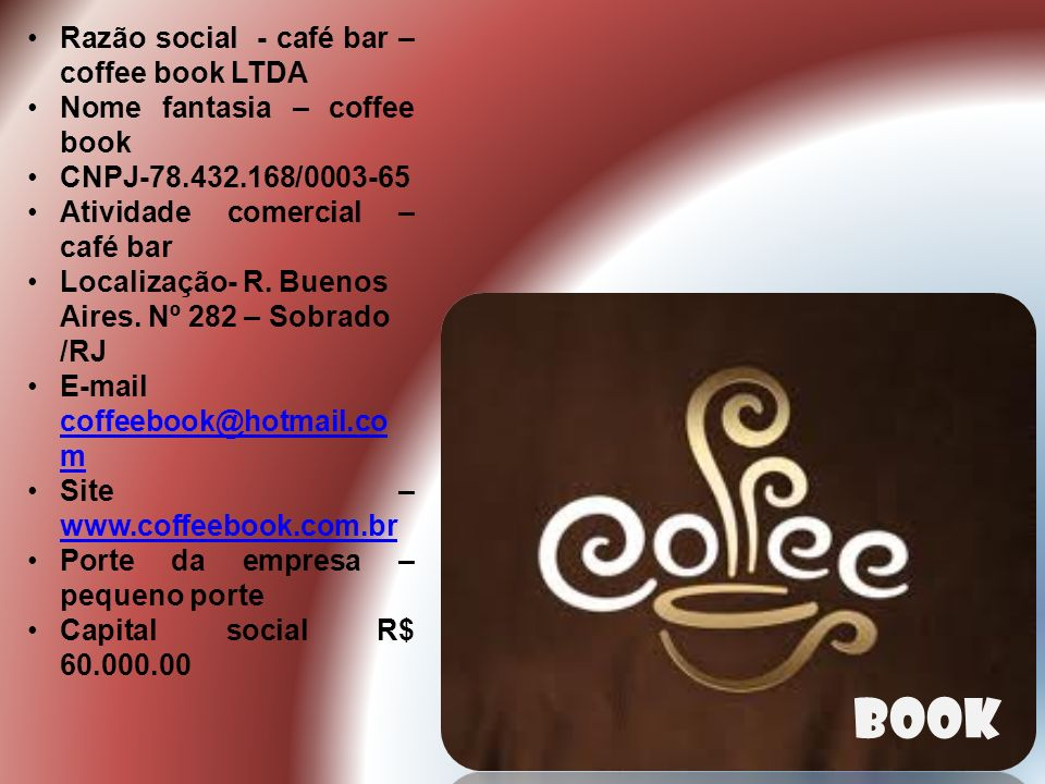 book Razão social - café bar – coffee book LTDA