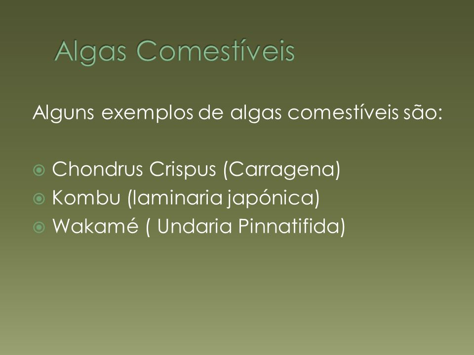 Algas Comestíveis Alguns exemplos de algas comestíveis são: