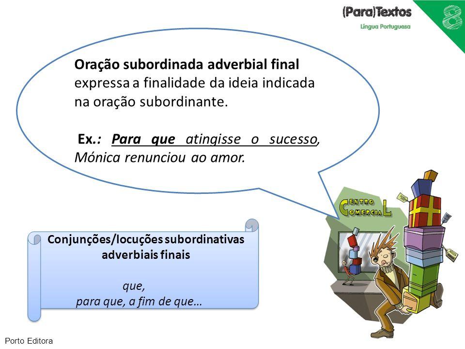 Conjunções/locuções subordinativas adverbiais finais