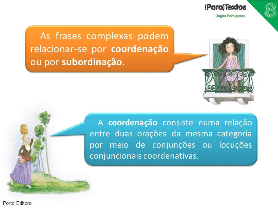As frases complexas podem relacionar-se por coordenação ou por subordinação.