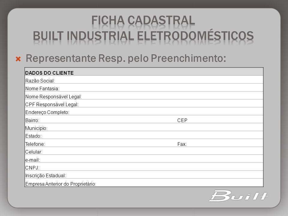 FICHA CADASTRAL BUILT INDUSTRIAL ELETRODOMÉSTICOS