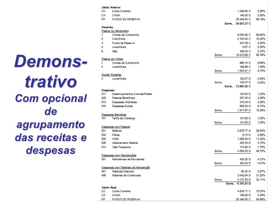 Demons-trativo Com opcional de agrupamento das receitas e despesas