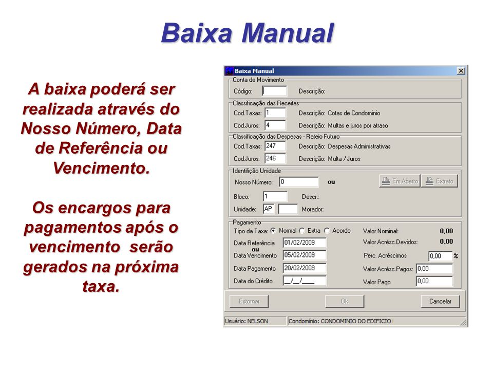 Baixa Manual