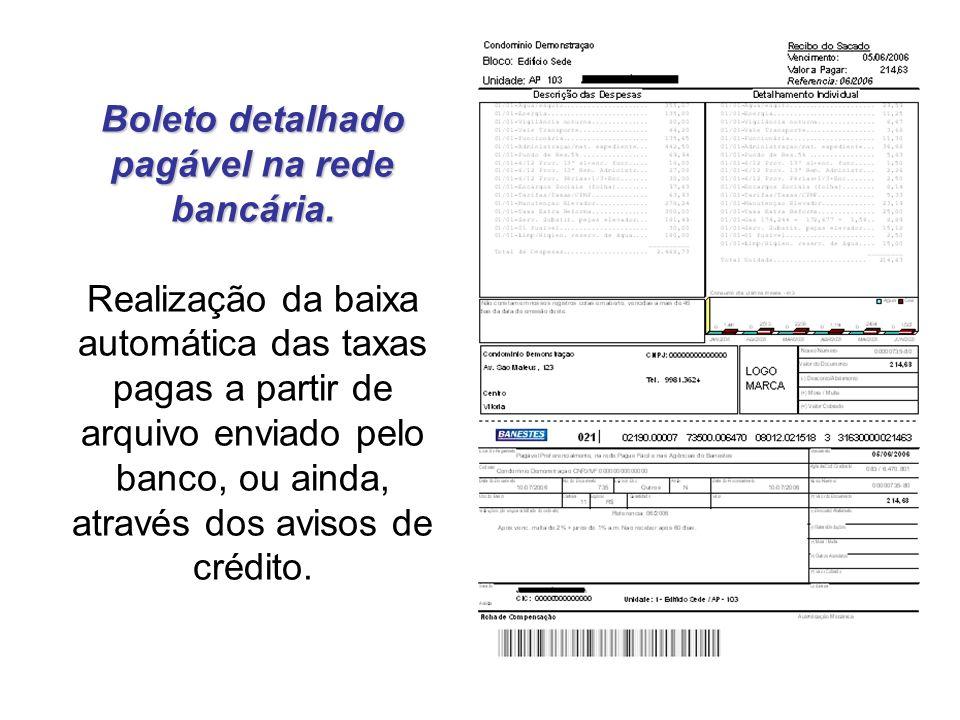 Boleto detalhado pagável na rede bancária