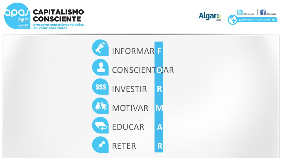 INFORMAR F CONSCIENTIZAR O INVESTIR R MOTIVAR M EDUCAR A RETER R