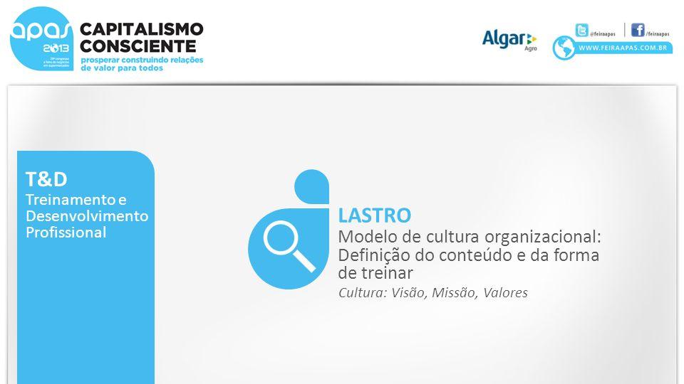 T&D Treinamento e. Desenvolvimento. Profissional. LASTRO. Modelo de cultura organizacional: Definição do conteúdo e da forma de treinar.