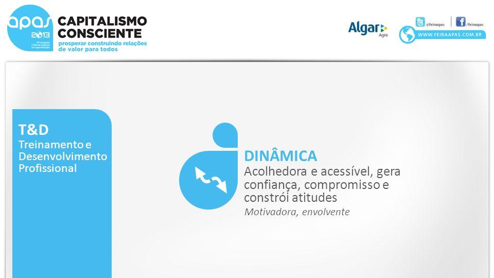 T&D Treinamento e. Desenvolvimento. Profissional. DINÂMICA. Acolhedora e acessível, gera confiança, compromisso e constrói atitudes.