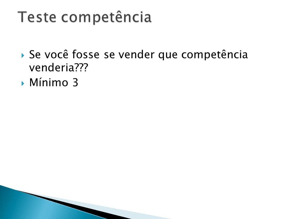 Teste competência Se você fosse se vender que competência venderia
