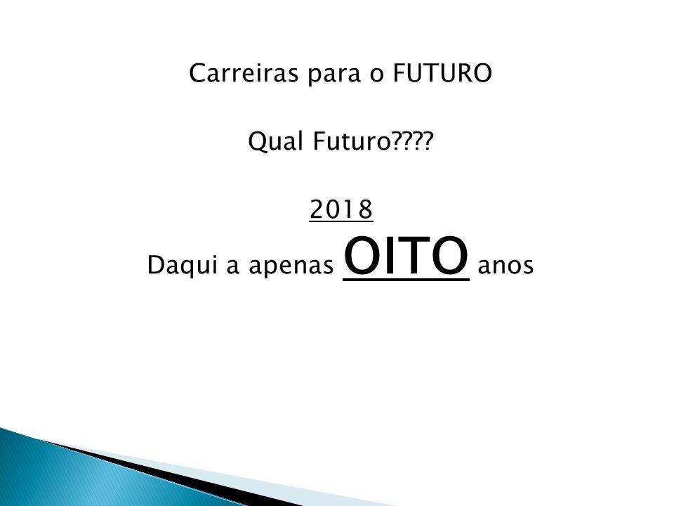 Carreiras para o FUTURO Qual Futuro 2018 Daqui a apenas OITO anos