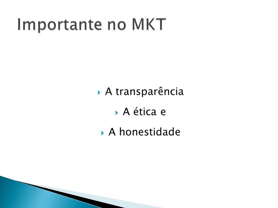 Importante no MKT A transparência A ética e A honestidade