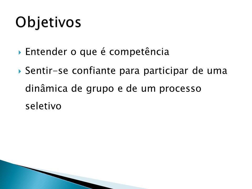 Objetivos Entender o que é competência