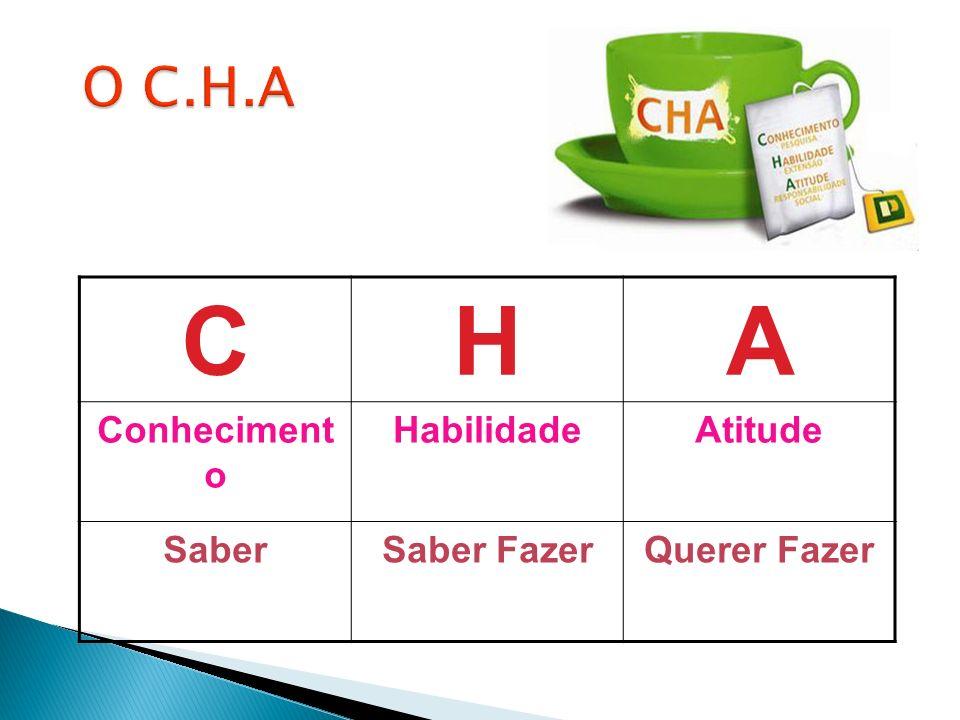 C H A O C.H.A Conhecimento Habilidade Atitude Saber Saber Fazer