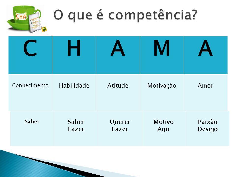 C H A M O que é competência Habilidade Atitude Motivação Amor Fazer