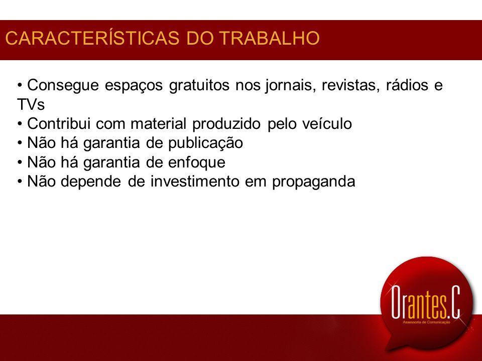 CARACTERÍSTICAS DO TRABALHO