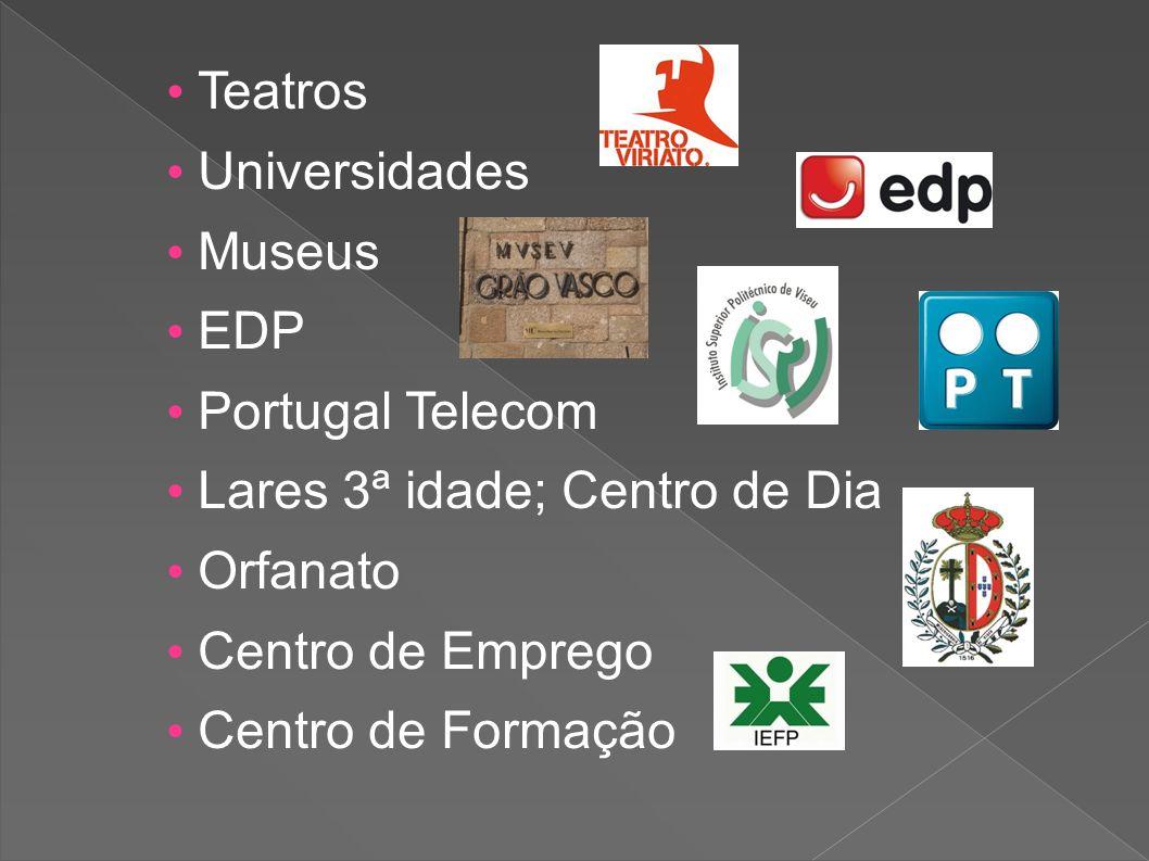 • Teatros • Universidades. • Museus. • EDP. • Portugal Telecom. • Lares 3ª idade; Centro de Dia.