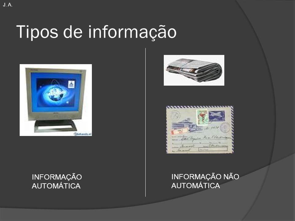 Tipos de informação INFORMAÇÃO AUTOMÁTICA INFORMAÇÃO NÃO AUTOMÁTICA