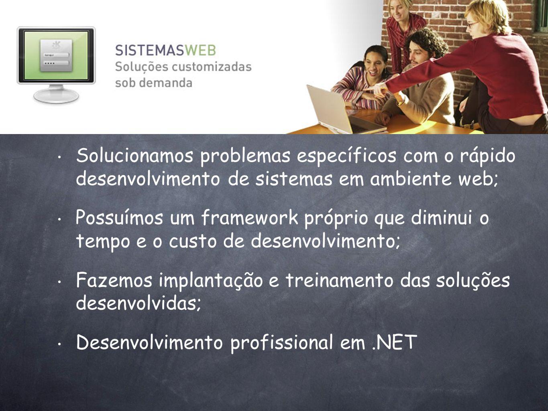 Solucionamos problemas específicos com o rápido desenvolvimento de sistemas em ambiente web;