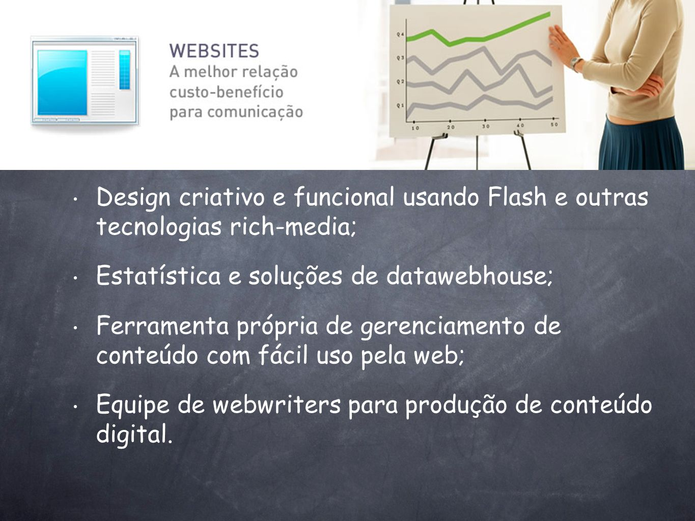 Design criativo e funcional usando Flash e outras tecnologias rich-media;
