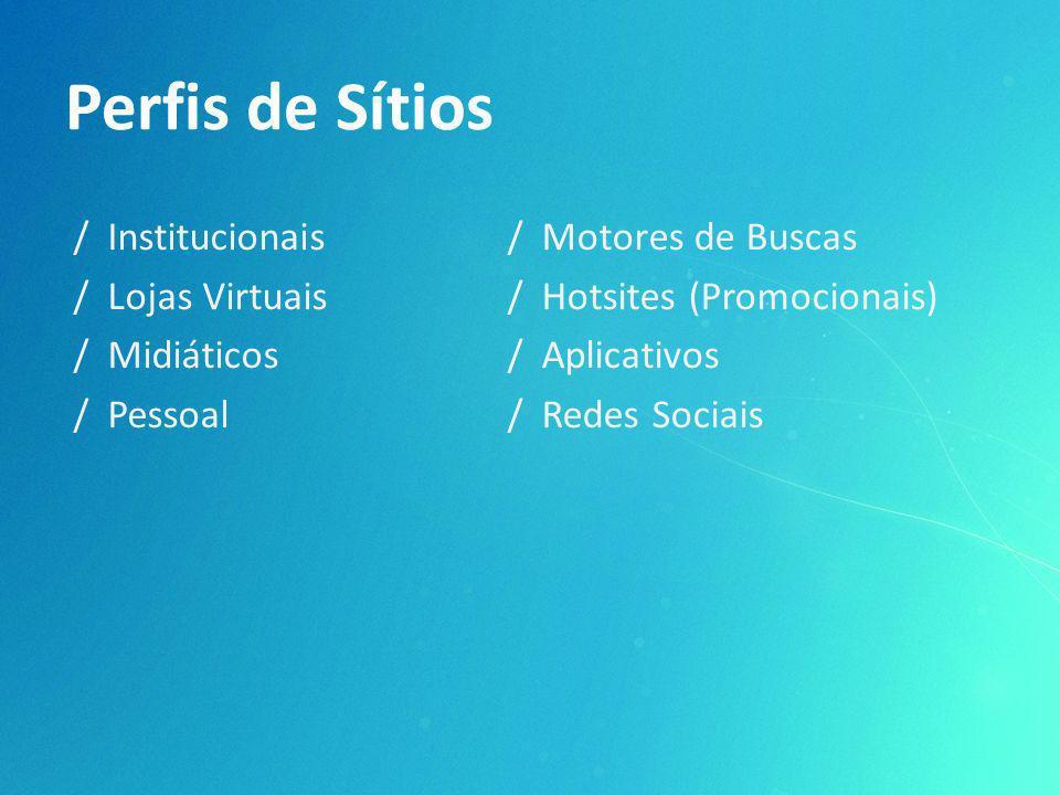 / Institucionais / Lojas Virtuais / Midiáticos / Pessoal