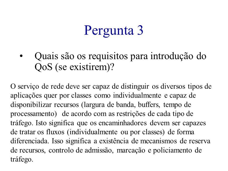 Pergunta 3 Quais são os requisitos para introdução do QoS (se existirem)