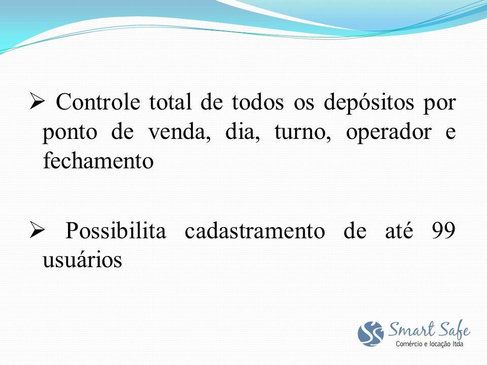  Controle total de todos os depósitos por ponto de venda, dia, turno, operador e fechamento  Possibilita cadastramento de até 99 usuários