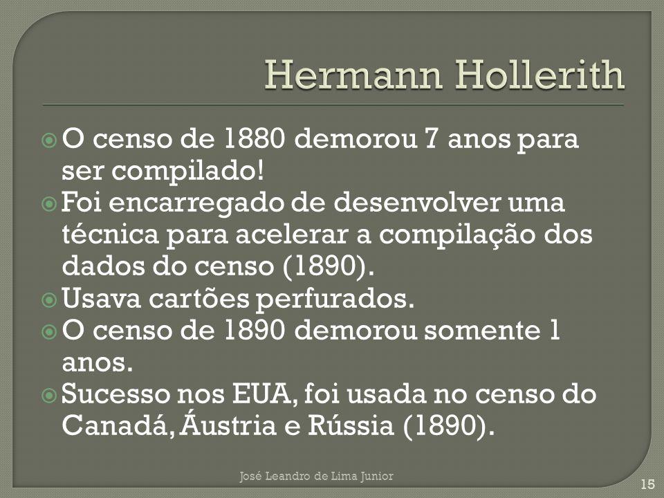 Hermann Hollerith O censo de 1880 demorou 7 anos para ser compilado!