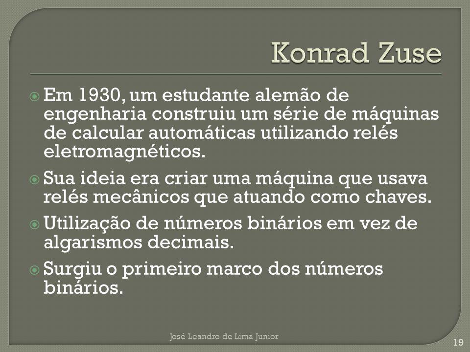 Konrad Zuse Em 1930, um estudante alemão de engenharia construiu um série de máquinas de calcular automáticas utilizando relés eletromagnéticos.