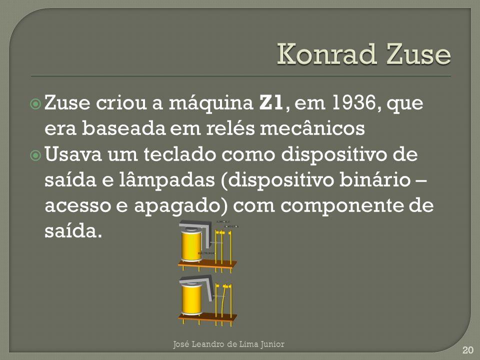 Konrad Zuse Zuse criou a máquina Z1, em 1936, que era baseada em relés mecânicos.