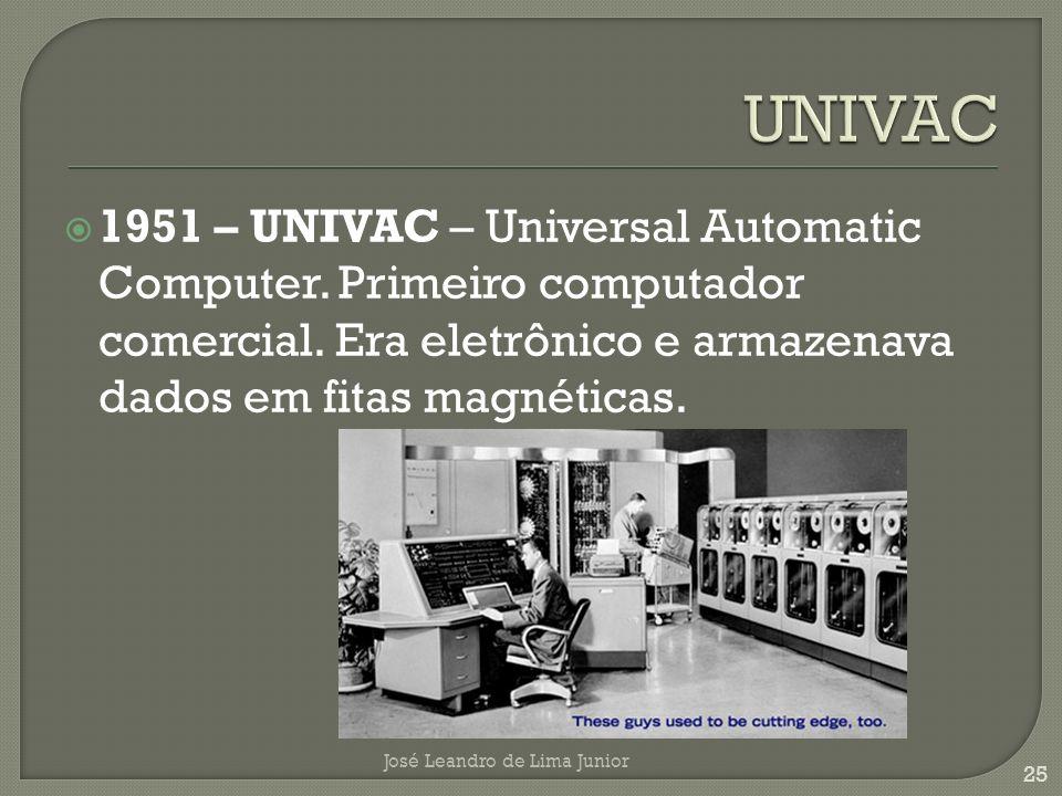 UNIVAC 1951 – UNIVAC – Universal Automatic Computer. Primeiro computador comercial. Era eletrônico e armazenava dados em fitas magnéticas.