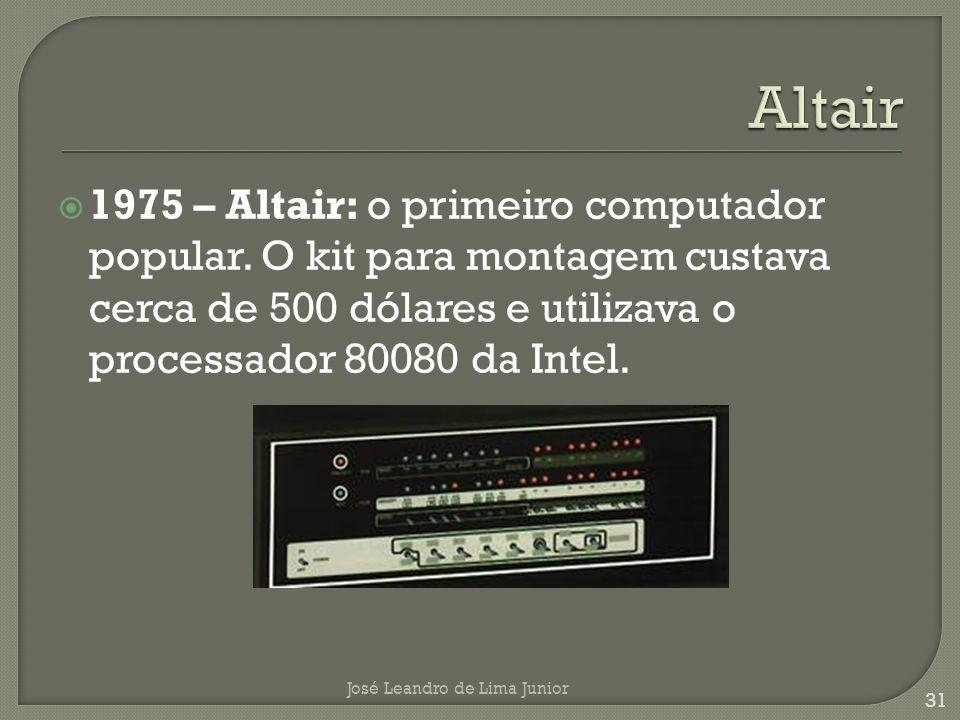 Altair 1975 – Altair: o primeiro computador popular. O kit para montagem custava cerca de 500 dólares e utilizava o processador 80080 da Intel.