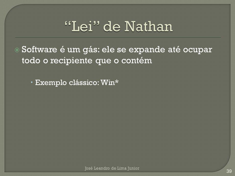 Lei de Nathan Software é um gás: ele se expande até ocupar todo o recipiente que o contém. Exemplo clássico: Win*