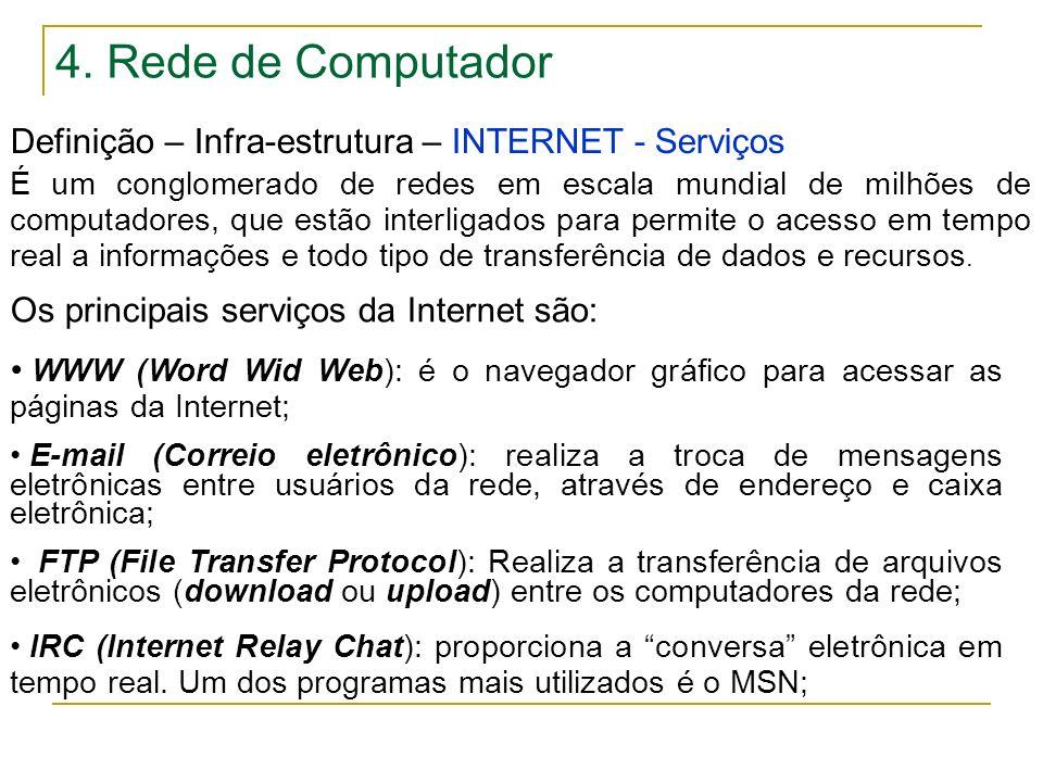 4. Rede de Computador Definição – Infra-estrutura – INTERNET - Serviços.