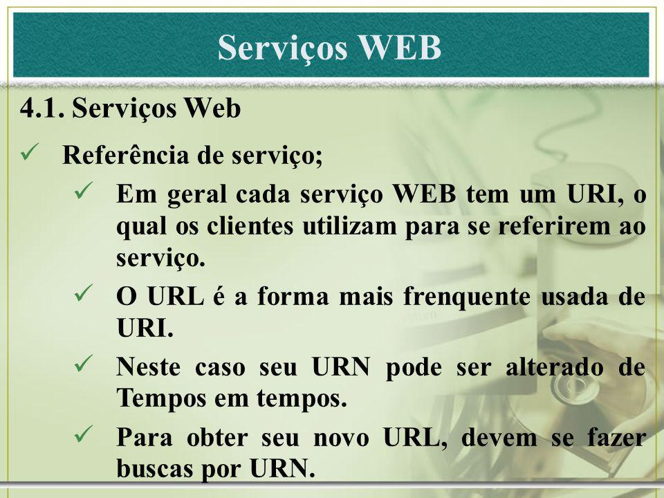 Serviços WEB 4.1. Serviços Web Referência de serviço;