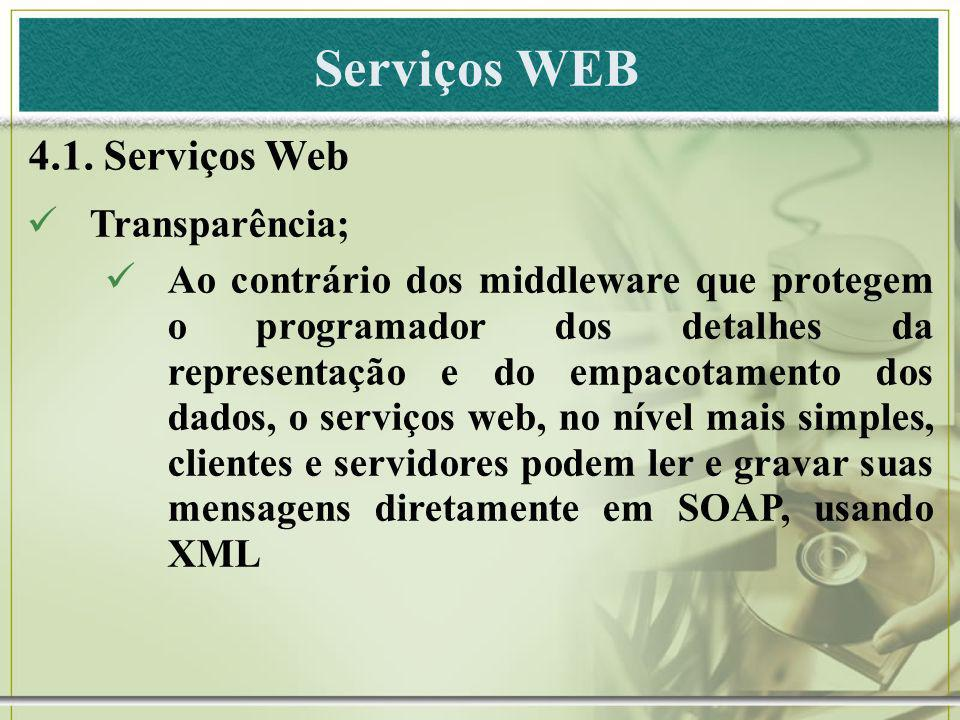 Serviços WEB 4.1. Serviços Web Transparência;