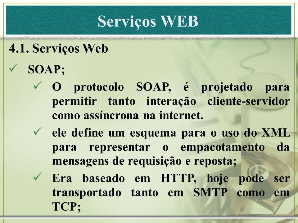 Serviços WEB 4.1. Serviços Web SOAP;